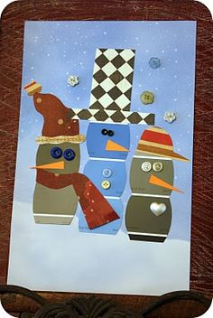 Paint Chip Snow people - I LOVE this idea - December lesson?