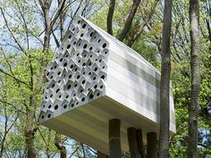 tree house bird-apartment by nendo birdapart, birdhous, tree houses, treehous, bird nests, bird apart, apartments, birds, design