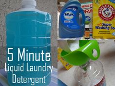 Make an effective and instant liquid laundry detergent. This literally takes 5 minutes to make  this liquid laundry soap and is great for front loaders and HE machines too! I find it is a great odor and stain remover.  Plus it is much, much cheaper (pennies on the dollar) to store-bought detergent.