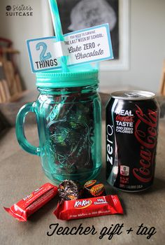 End of the year Teacher gift + tag: 2 Things You NEED to Survive the Last Week of School, Caffeine and Chocolate!