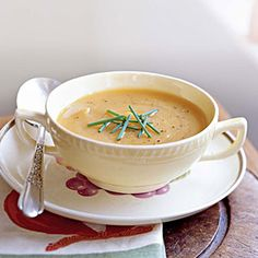 Curl up on the couch with a bowl of Roasted Butternut Squash and Shallot Soup. 112 calories per serving.