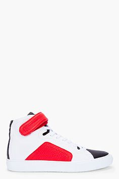 Pierre Hardy White  Red High-top Sneakers for men | SSENSE