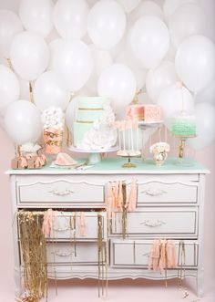 dessert tables, pastel, cake, color, dresser, wedding white, balloon, parti, bridal showers