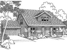 Home Plans HOMEPW00648 - 1,600 Square Feet, 3 Bedroom 2 Bathroom Cottage Home with 2 Garage Bays