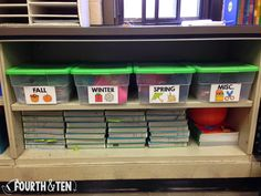 Store seasonal centers/games/teaching props in large containers.  Keeps them confined to one space but you know exactly where to find them when you need them!