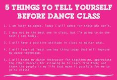 Tell myself this before Dance class / Cheer Training :) its all about a positive attitude studio, student, dance class, danc class, print