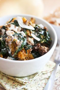 Kale Butternut Squash Breakfast Bowl w/ground beef | by Sonia! The Healthy Foodie
