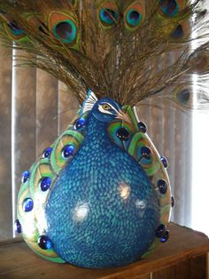 Peacock Gourd OOAK Hand Painted & Decorated by CCRockCreations, $150.00