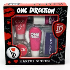 These One Direction makeup dinkies are for little girls. They have song titles on them so the girls are already being brainwashed to believe that boys are really like One Direction's lyrics.