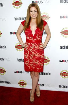 Sexy, yet subtle red lace on Isla Fisher