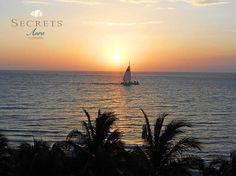 Peaceful #sunset over the ocean at #SecretsAuraCozumel. #travel #ocean #boat