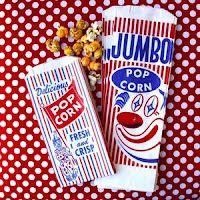 FOOD: vintage carnival bags filled with carmel popcorn