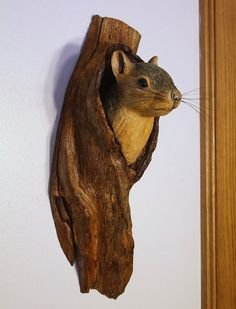Wall Sculpture Squirrel Wood Carving Hand Carved by BerlinGlass