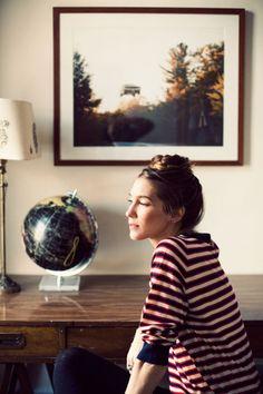 . cup, hair tutorials, framed photos, style, braid top, top bun, hair buns, globe, stripe
