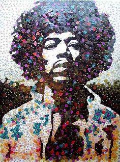 guitar picks, castl, jimi hendrix, guitar art, fender guitars, artist, mosaic, portrait, artwork