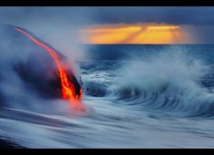Lava Amazing Photos  Two daredevil photographers have risked their lives to become the first people to capture the explosive moment fiery lava crashes into the sea - while in the water themselves. Fearless duo Nick Selway, 28, and pal CJ Kale, 35, brave baking hot 110F waters to snap the amazing images - standing just feet away from scalding heat and floating lava bombs.