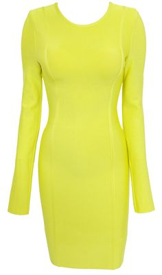 Clothing : Bandage Dresses : 'Carly' Lime Green Long Sleeve Bandage Dress