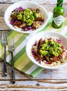 #SlowCooker Green Chile Shredded Beef Cabbage Bowl with Avocado Salsa; you can also serve this delicious green chile beef over rice or quinoa for those who aren't cabbage fans. [from KalynsKitchen.com] #LowCarb #GlutenFree #SouthBeachDiet #Cabbage