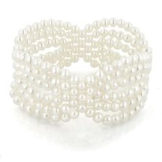6-Row White Freshwater Cultured Pearl Woven Design Stretch Bracelet: Jewelry: Amazon.com