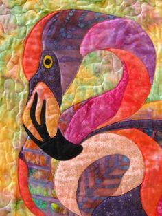 art quilt, fiona flamingo, flamingo quilts, quilts animals, flamingo batik