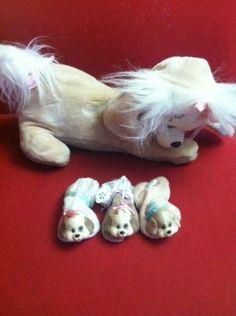 Tan Puppy Suprise Mom 3 Puppies Hasbro 90's Vintage Stuffed Animal Toy