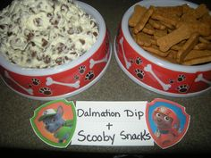 Dalmation Dip made from cream cheese, a bit of confectioners sugar, and chocolate chips served with graham cracker Scooby Snacks.
