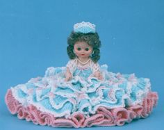 "Crochet Air Freshener Cover Patterns | 0805 Crochet Pattern 13"" LILA Bed Doll By Td Creations"