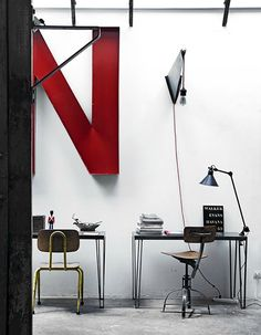 red interior design, art studios, big letters, industri design, industri offic