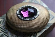 Vintage GERMAINE MONTEIL Purple Jeweled Compact Pressed Powder mirror Gold tone | eBay