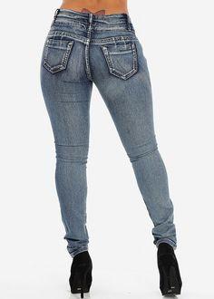 Butt Lifting Blue Skinny Jeans