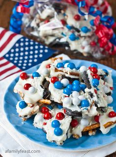 Chocolate Cookie Candy Pretzel Bark for July 4th!