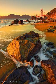 Golden Sunset, Marshall Beach, Presidio of San Francisco, Golden Gate National Park, CA