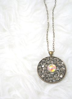 Natural Wonder Necklace, Long Vintage Glass & Pyrite Necklace by EclecticOrchid, $45.00
