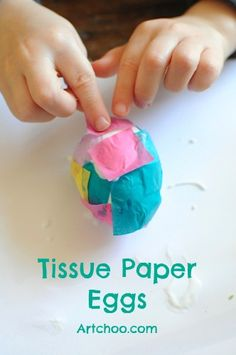 Tissue Paper Easter Egg Project (papier mache eggs, tissue paper, mod podge)