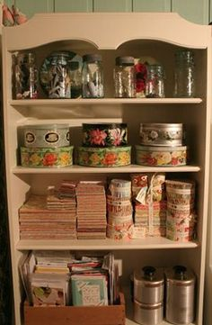 Organizing with vintage tins (original photo source not found)