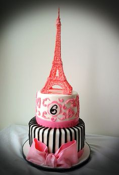 Paris Themed Eiffel Tower Cake (inspired by Geelicious Confections)