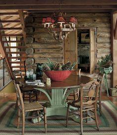 decor, table bases, floral centerpieces, cabin christmas, logs