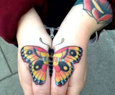 hand tattoo | Tumblr butterfli, hand tattoos, tattoo hand, sick tattoo, moth tattoo, knuckl tattoo