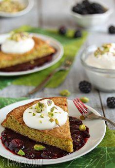 Pistachio Cake with Blackberry Sauce