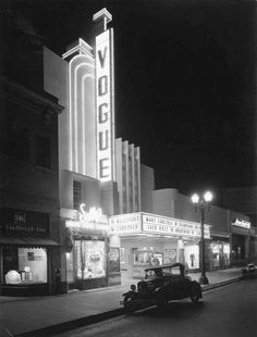 The Vogue Theater marquee is lit for business. Location: 6675 Hollywood Boulevard