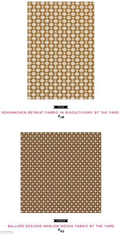 Schumacher Betwixt Fabric in Biscuit/Ivory by the yard $78  -vs-  Ballard Designs Marlow Mocha Fabric by the yard $25
