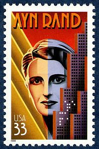 Objectivist author Ayn Rand. Copyright United States Postal Service. All rights reserved.