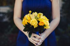 David's Bridal dress in Marine with yellow flowers