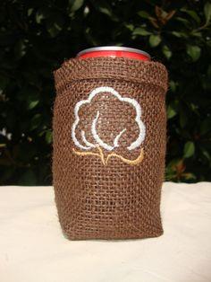 Burlap Koozies- LOVE this cotton