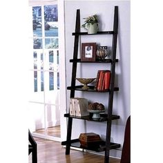 """$61.50 (CLICK IMAGE TWICE FOR UPDATED PRICING AND INFO) Unique 72"""" High LEANING LADDER STYLE MAGAZINE / BOOK SHELF on Black Finish. See More Book Shelves at http://www.zbuys.com/level.php?node=3748=book-shelves"""