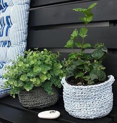 Crocheted baskets for plants