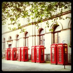 Red telephone boxes, Preston, England. Taken with my Instagram. #red #telephone #box #callbox #British #icon
