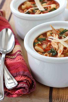 Mediterranean Chicken, Bean & Pasta Soup...Always a family favorite! | cookincanuck.com #recipe