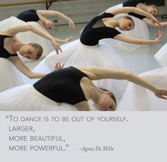 """To dance is to be out of yourself. Larger, more beautiful, more powerful."" ~ Agnes De Mille. Photo by Paolo Galli. #dance #quote"