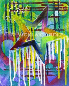 STAR and heart colorful 8x10 Giclee Fine Art Print by Vicki McArdle (artzgirl)